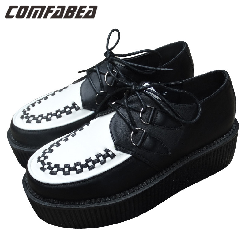Women Platform Lace Up Shoes Retro Trendy Flat Creepers Goth Punk Rock Street All-match Classical Black white Creeper<br><br>Aliexpress