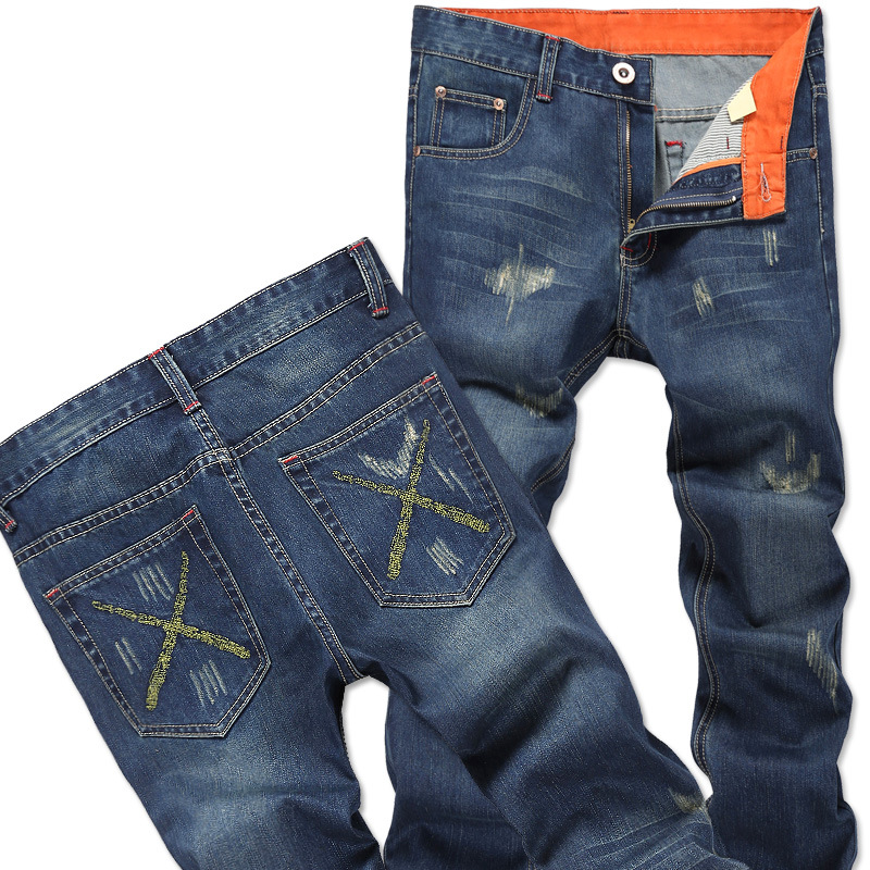Hot Sale 2017 New fashion mens jeans pocket decoration hole jeans big yards Pants Mens brand Casual jeans TrouserОдежда и ак�е��уары<br><br><br>Aliexpress