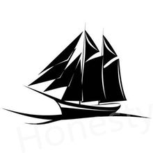 Yacht with Sails Car Wall Home Glass Window Door Auto Car Truck Laptop Black Vinyl Decal Sticker Decor Gift 16.8cmX11.7cm