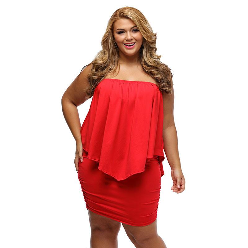 17 Women Plus Size Layered Dress Red Off Shoulder Femme Sexy Autumn Dresses Large Big Size Women Casual Mini Dress XXXL XXL 8
