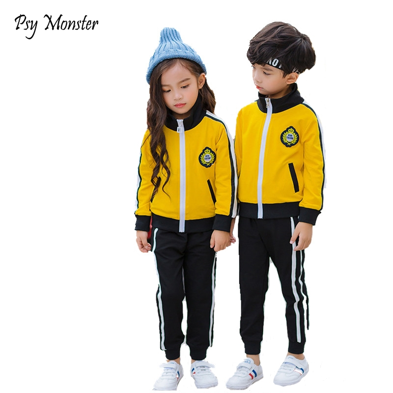 Boys Girls Sports Clothing Set School Kids Running Tracking Suit Children Jogging Suits Comfortable 2 Pieces Jacket +Pants W215<br>