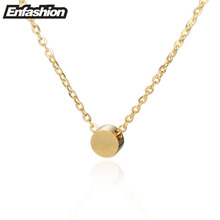 Enfashion Geometric Mini Circle Necklace Rose Gold Color Necklaces Pendants Stainless Steel Necklace Women chocker Jewelry(China)