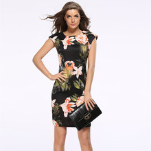 Liva Girl Floral Summer Bandage Dress Plus Size Women Tunic Casual Bodycon Office Midi Boho Dress Runway Hippie Chic Clothes 718(China)
