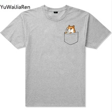 Buy YuWaiJiaRen Cute Dog Printed Fashion Men's T shirt Hipster Tops Pocket Cat Cool Design Short Sleeve Tees Plus Size 5XL EU Size for $5.10 in AliExpress store