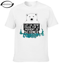 2017 Fashion Science Bear Mens T-shirt White Bear Design Short Sleeve Cotton T shirt Casual Cool Hipster Tops Youth Tees(China)