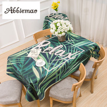 Buy Abbiemao Tropical Green Leaves Printing Tablecloth Square Decorative Desk Cover Tea table Dustproof Waterproof cloth for $13.97 in AliExpress store
