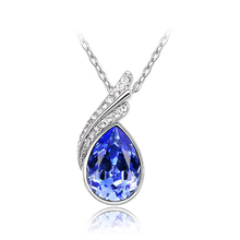 G202 crystal jewelry pendant necklace leaf  shape jewelry