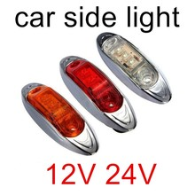 3 LED Side Marker light Clearance tail Lamp 12V 24V for Car Truck Trailer caravan Bus Red White yellow(China)
