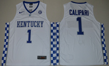 Nike 2017 Kentucky Wildcats Coach John Calipari 1 College Basketball Hype Elite Jersey - White Size S,M,L,XL,2XL,3XL