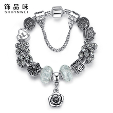 Shipinwei Luxury European silver plated daisy heart charm Bracelets & Bangles Glass Beads bracelets for Women christmas gifts