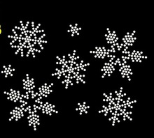 10pc/lot  lovely Snow flake hot fix rhinestone transfer motifs iron on design rhinestone applique patch for shirt bag shoes