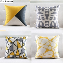 Nordic Decorative Throw Pillows Case Geometric Gray Cushion Cover Home Decor Yellow Lattice Chair Couch Pillowcase for sofa(China)