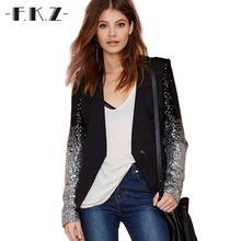 FKZ Best Sale Slim Women PU Patchwork Black Silver Sequins Jackets Full Sleeve Fashion Spring/Autumn Coat Plus Size S-3XL SKC012(China)