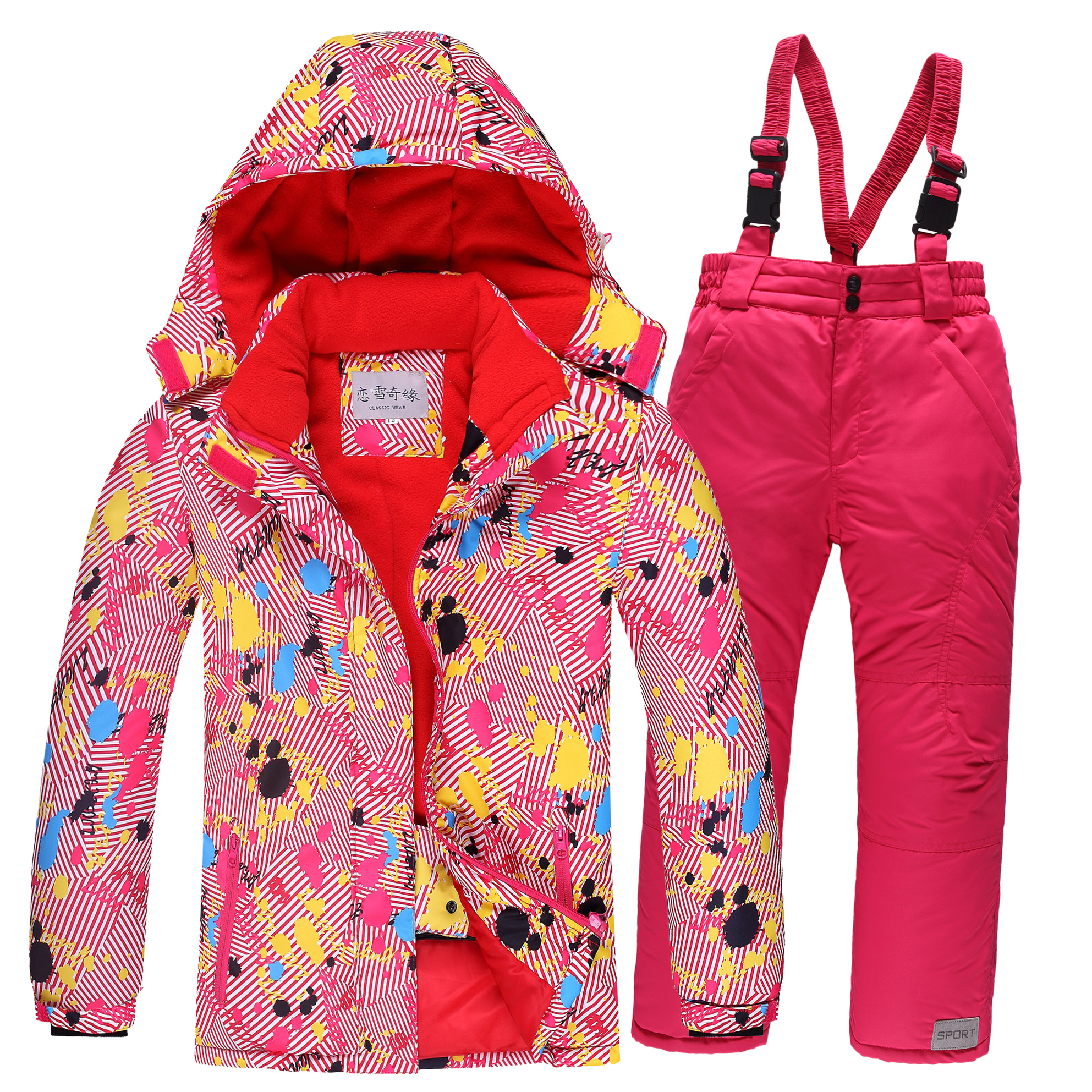2019 Winter Snow Jacket Ski Suit Women Snow Jacket And Pants Windproof Waterproof Graffiti Clothes Snowboard Games Shoes