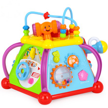 Baby Toy Musical Activity Cube Play Center with Lights,15 Functions Skills Learning Educational Toys For Kids brinquedo musical(China)