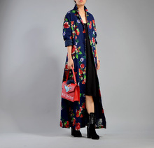 Women Autumn Printed National Style Floral Vintage Trench Coat Outwear Ladies Long Overcoat Female Fall Spring Flower Print Coat(China)
