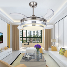 36 Inch Modern LED Invisible Ceiling Fans With Lights Children Bedroom ceiling light fan Remote Control 220 Volt Fan Lamp