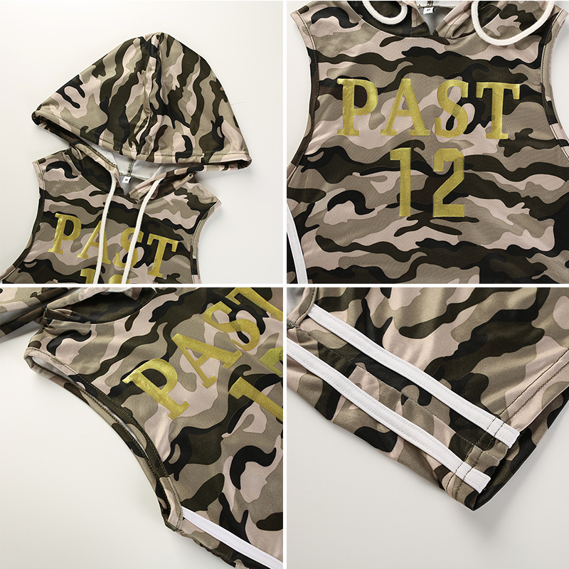 9Sweetown Camouflage Two Piece Set Women Leer Print Shorts And Crop Top Set Vogue Casual Short Sets For Women Fitness Clothing