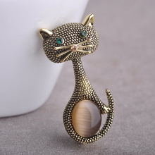 Vintage Opal Cat Eye Brooch Pins For Women Gold-Color Cute Animal Broches European Collar Clips Wedding Party Bijoux