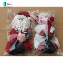 O0018 1 Xmas Santa Claus+1 Snowman/Pair/Set Hold Seat Design New Year Table Dinner Decoration Red Christmas Wine Bottle Cover