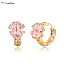 Gold Color Lucky Four Heart Leaf Clover Pink / Purple / Blue Crystals Huggies Small Hoop Earrings For Women Kids Girls Jewelry