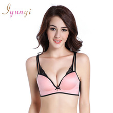 New Fashion Lace Striped Massage Palm Cup Breathable U Plunge Seamless Small Chest Gather Deep V Charming Bow 1 Pcs Bra