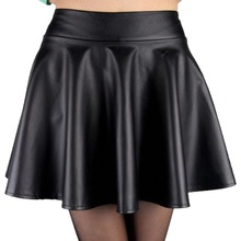 Stylish Women High Waist Short Skirts Girls Faux Leather Pleated Mini Skirt XS-L