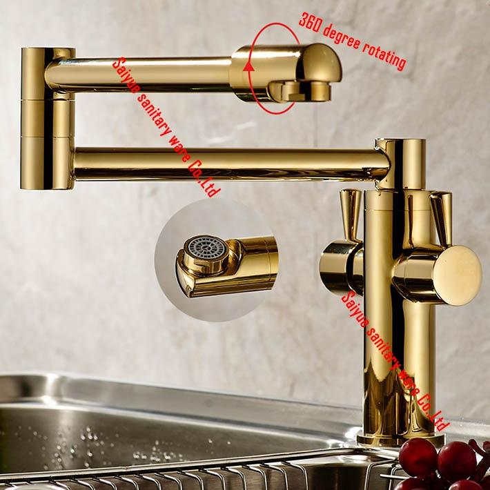 Gold plating Kitchen Faucets Brass Folding Sink mixer  Water Tap  torneiras para pia cozinha grifos cocina robinet cuisine<br><br>Aliexpress