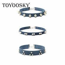 2017 Short Imitation Pearls Blue Necklace Collar Denim Choker Necklace Sets Combination 3 Pieces/Lot 30cm