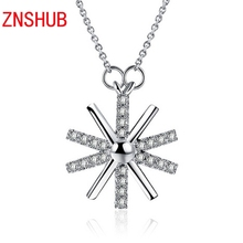 Korean fashion style sterling silver pendant necklace fine female flowers inlaid zircon crystal pendant wholesale manufacturers