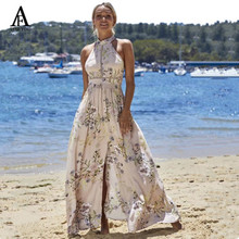 Buy 2017 halter dress boho flower print sexy beach sundress summer lace long dress backless split boho maxi dress womenx27s dresses