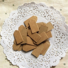 100pcs DIY Square Food Label Wedding Gift cake box Decorating Tag 2*4cm Packaging Label Brown Kraft Paper Tags(China)
