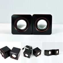Pair black USB 2.0 3.5mm stereo mini multimedia speaker sound box