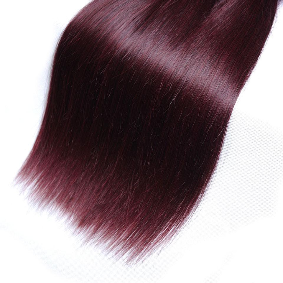 Pinshair Burgundy Straight Hair Bundles Deals Human Hair Weave 4 Bundles Non Remy Pre-colored Brazilian Hair Extensions No Smell (52)