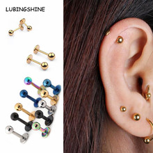 Small Earrings Medical Titanium Steel Stud Earring Punk Rod Flat T-Type Screws Male Ear Nail Piercing Jewelry Women JJAL E441