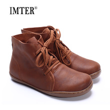 (35-42)Women Ankle Boots Hand-made Genuine Leather Woman Boots Spring Autumn Square Toe lace up Shoes Female Footwear (5188-8)(China)