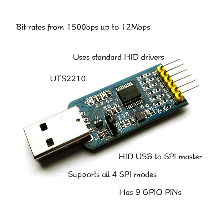 DOIT UTS2210 USB to SPI Master HID MCP2210 Converter Adapter GPIO DIY RC Electronic Toy Robot Development Board MCU UNO<br>