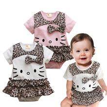 Summer 2017 Hello Kitty Leopard Baby Girl Romper Macacao Bebe Overalls For Children Jumpsuit Vetement Bebe Fille Infant Clothing