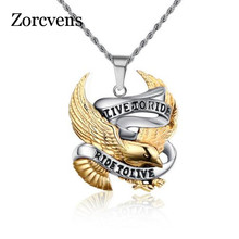 ZORCVENS Eagle Necklace Pendant for Men Stainless Steel Metal LIVE TO RIDE Punk Jewelry(China)