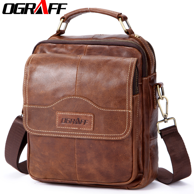 OGRAFF Genuine leather men bag men messenger bags small shoulder bags crossbody bag mens leather handbag men Briefcases travel<br>
