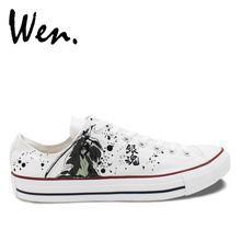Wen Hand Painted Single Shoes Custom Design Anime Gintama Men And Women Low Top Drawstring White Canvas Sneakers(China)