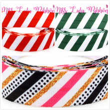 "5/8"" 16mm Red&Green with White Stripe Printed Elastic Ribbon Black Dots Christmas Decor Webbing DIY hair bands 50yards/roll(China)"