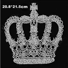 2pc/lot Crown patches hot fix rhinestone design hot fix hot fix rhinestone motif iron on transfers motif for shirt coat