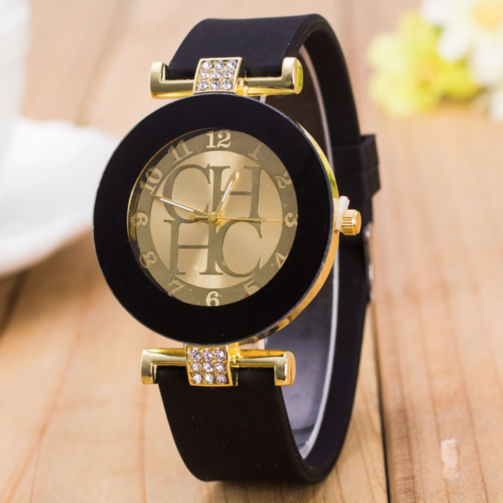 Women lady watches Crystal Silicone Wrist Watch H Dress Quartz Wristwatches Men C luxury Brand Gold Geneva Casual watch