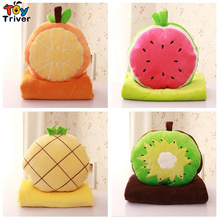 Plush Kiwi Fruit Watermelon Pineapple Orange Portable Blanket Stuffed Toy Doll Baby Shower Car Travel Rug Office Nap Carpet Gift