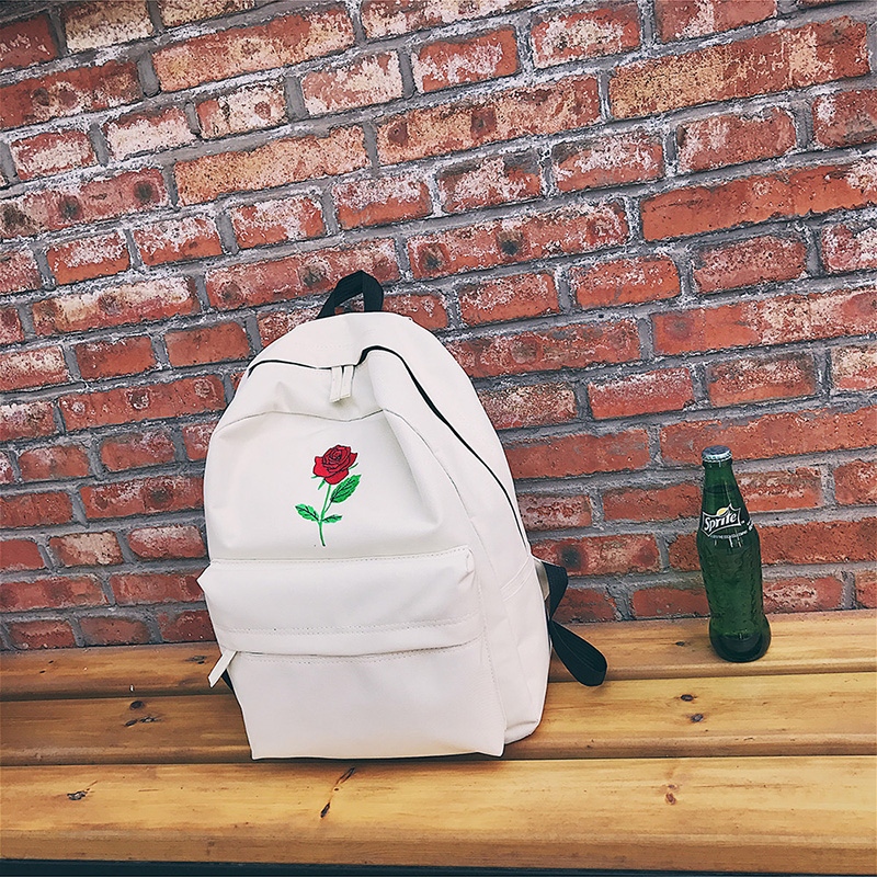 Men Canvas Backpack Cute Fashion Women Rose Embroidery Backpacks for Teenagers Women's Travel Bags Mochilas Rucksack School Bags (7)