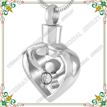 CMJ9211 High polishing stainless steel Mother Father Child Heart hollow pendant cremation urn jewelry pendants necklace