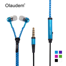 Metal Zipper Stereo Bass In-Ear 3.5mm Wired Earphone With Microphone For Mobile Phone MP3 4 EP-988