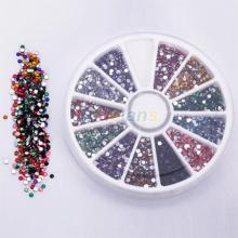 2500pcs Wheel 2.0mm 12 Colors Nail Art Decoration Glitter Tips Rhinestones Gems Flat Gemstones 0214 2T7T