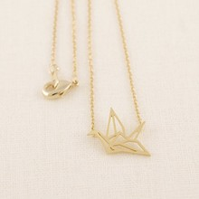 Jisensp Fashion Classic Lovely Origami Crane Long Chain Pendant Necklaces for Women Simple Bird Animal Couple Necklace N006